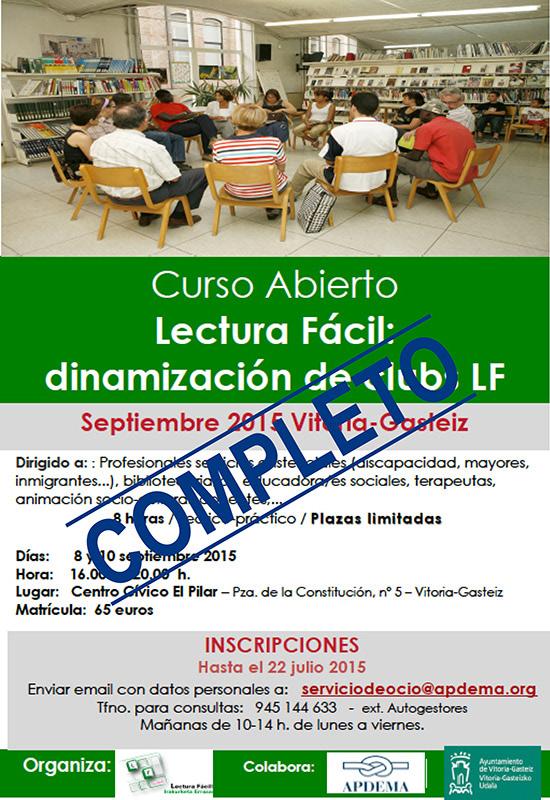 Apdema; Cubiertas las plazas del curso de dinamización de Clubs de Lectura Fácil