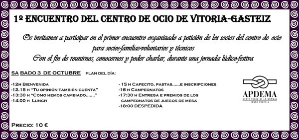 Apdema; 1º Encuentro del Centro de Ocio de Vitoria-Gasteiz