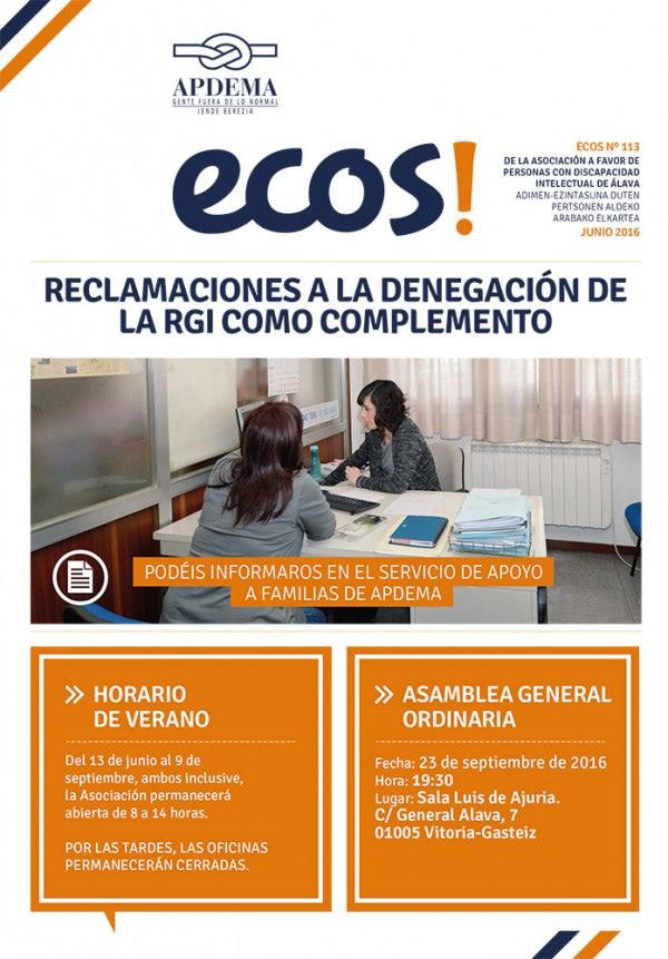 Apdema; Ecos-nº-113-Junio-2016