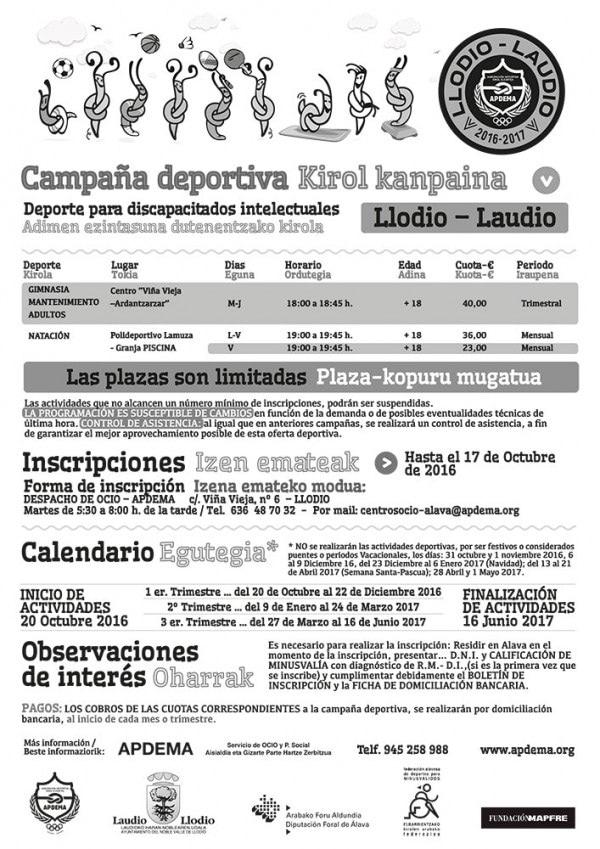 Apdema; Campaña deportiva en el valle de Ayala.